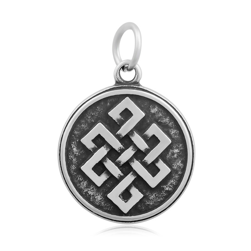 PandaHall Flat Round with Knot 316 Stainless Steel Pendants Antique Silver 23x19.5x2.5mm <strong>Hole</strong> 5mm
