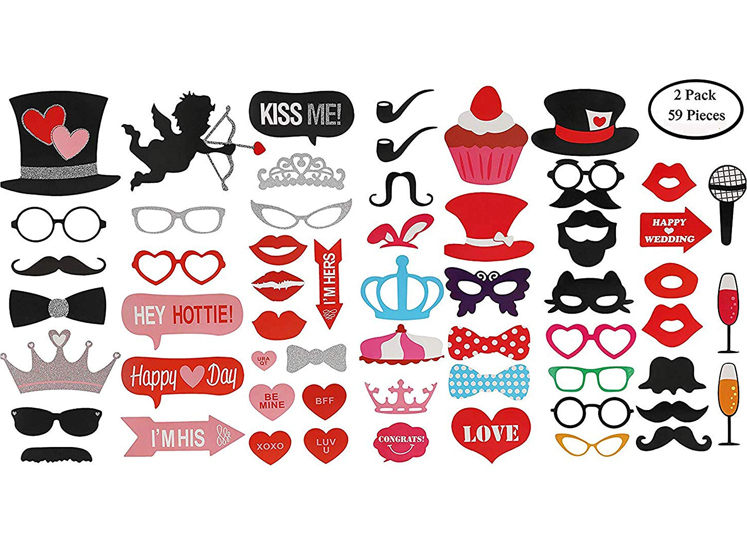 KissDate 2 Packs Valentine's Day Photo Booth Props , One 27 Pcs Glitter Props and 32 Pcs Weeding Props, Tiara Angel Hearts Mustaches Perfect for Party Decorations Birthday Graduation
