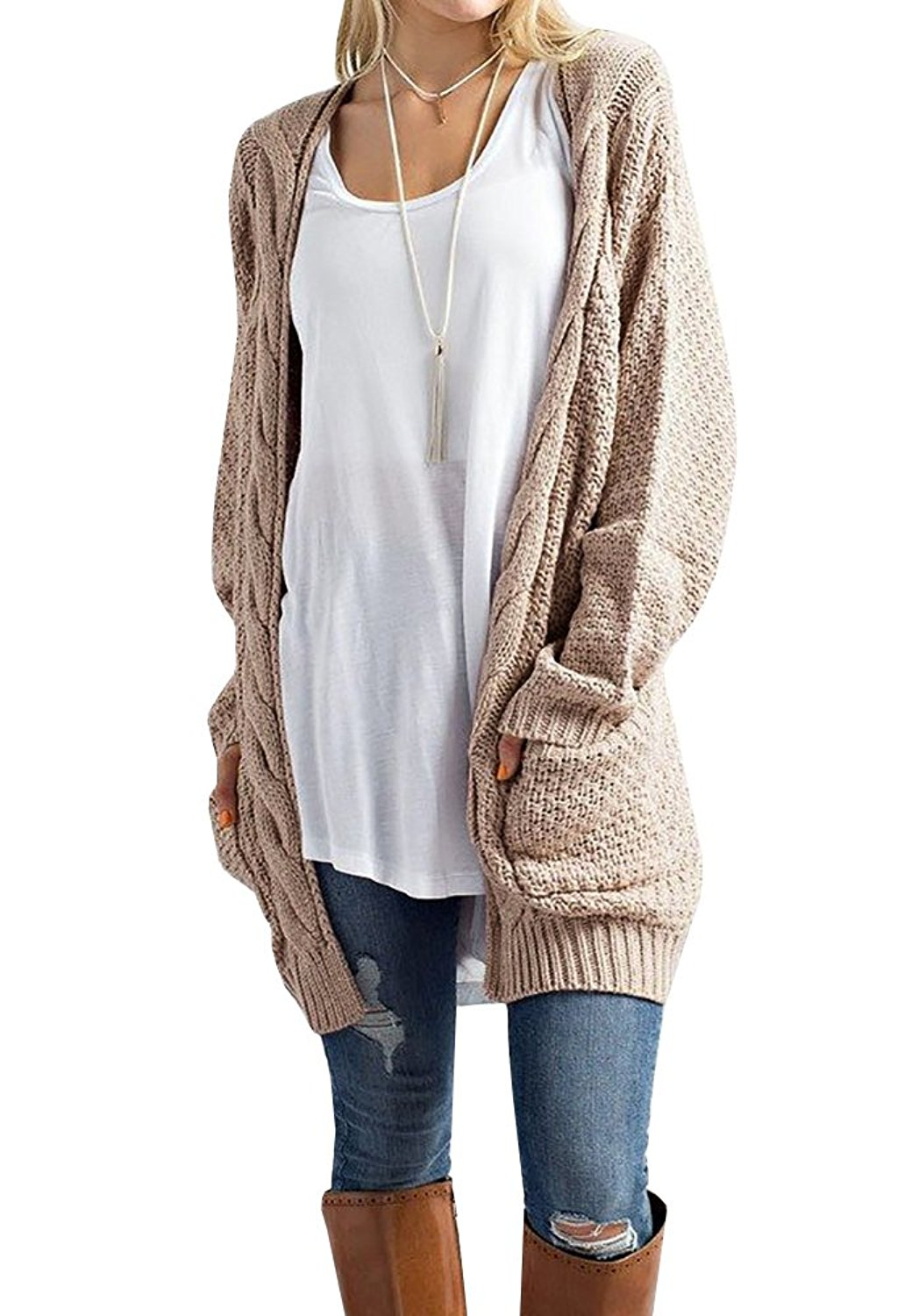 17354148f03 Get Quotations · Imily Bela Women s Boho Long Sleeve Open Front Chunky Warm Cardigans  Pointelle Pullover Sweater Blouses