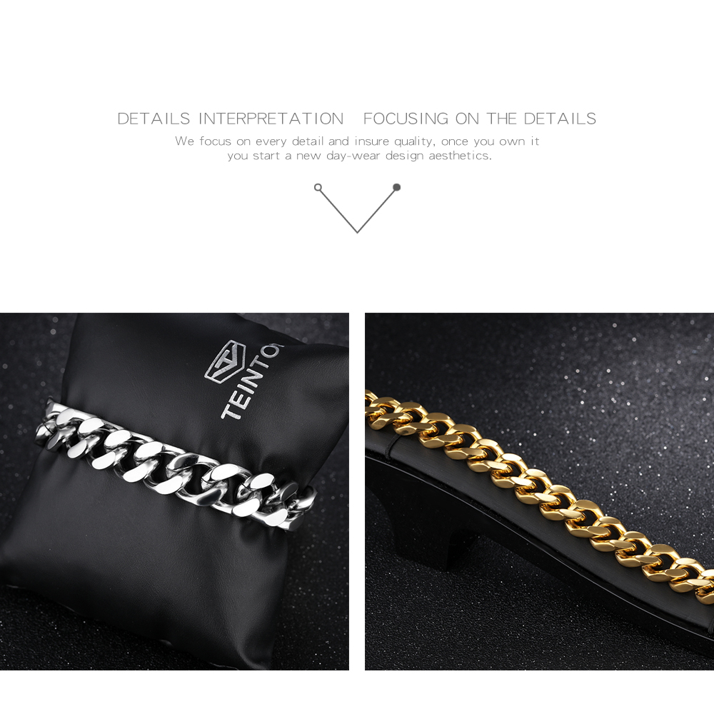 China Supplier Men's Accessories Jewellery Chain Plated Solid Gold Bracelet