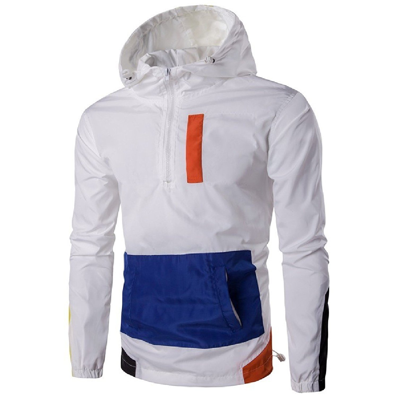 GodeyesMen Windproof Hood Pullover Leisure Windbreaker Trench Coat
