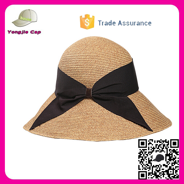 Top Quality Paper Straw Hats with bowknot UV protection summer girls straw hat