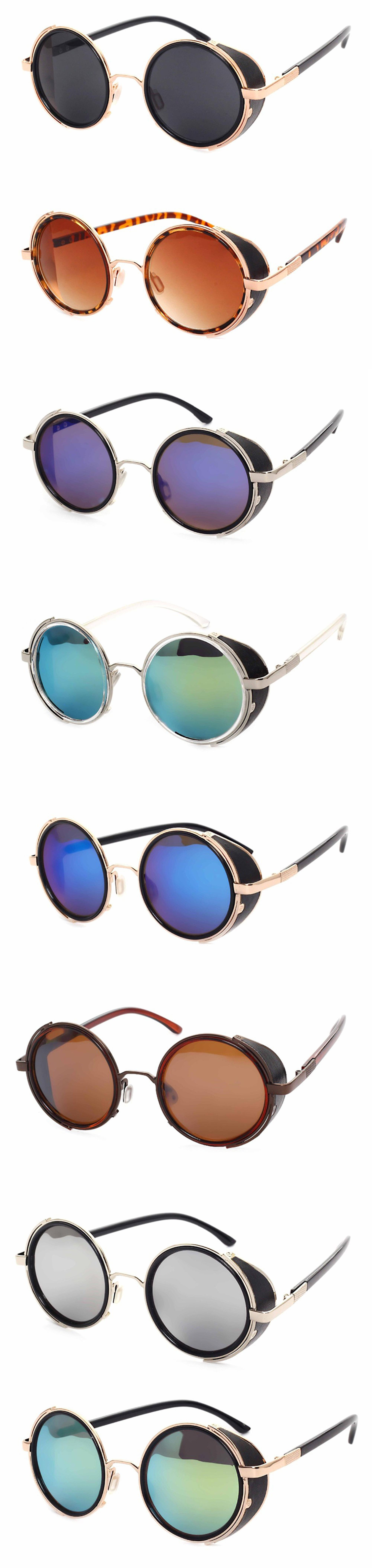 high quality stylish popular men women's metal round sunglasses fashion steampunk vintage style glass lenssunglasses