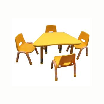 Used Preschool Library Desk And Chair Wooden Trapezoid Kids Party Table And  Chairs