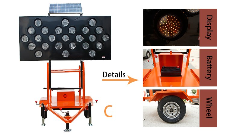solar led warning trailer mounted traffic arrow boards for sale