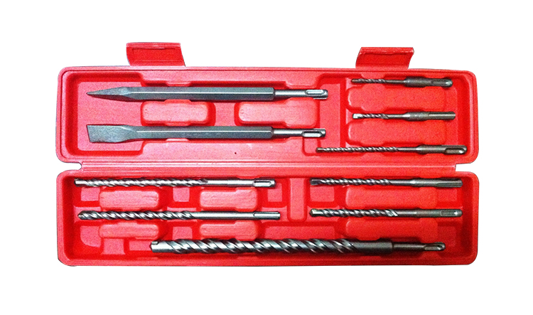 10Pcs SDS Plus Hammer Drill Bit and  Chisel Set  in Plastic Box