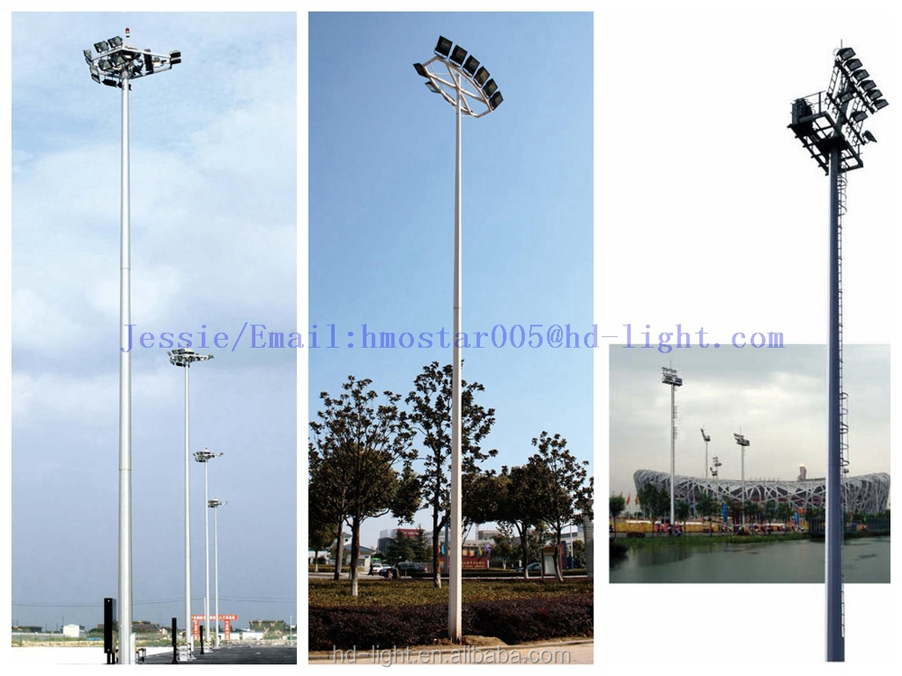 25m High Mast Light Pole For Football Field With Metal
