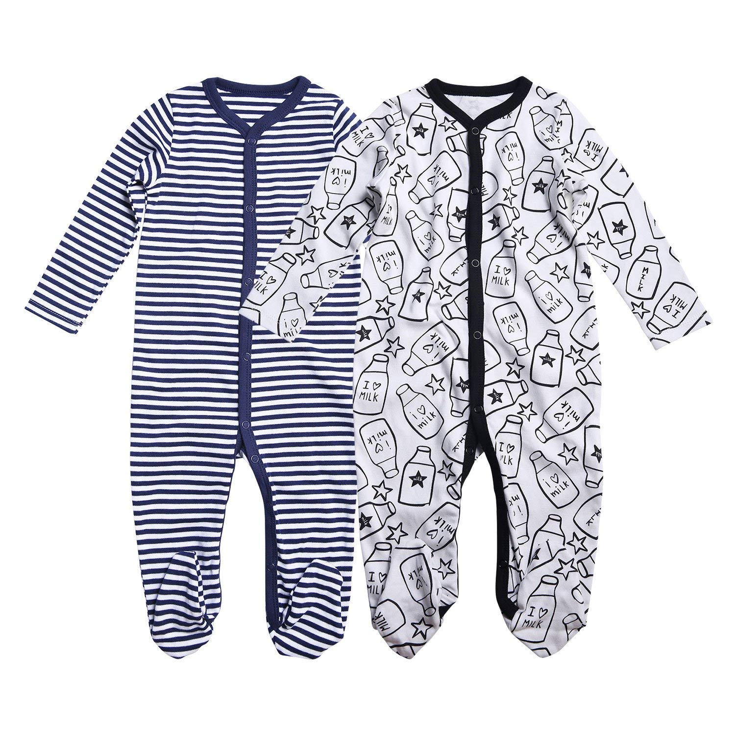 88d7658b49 Get Quotations · OPAWO Unisex-Baby Girls Boys 2-Pack Cotton Footie Pajamas  Footed Sleepers 0-