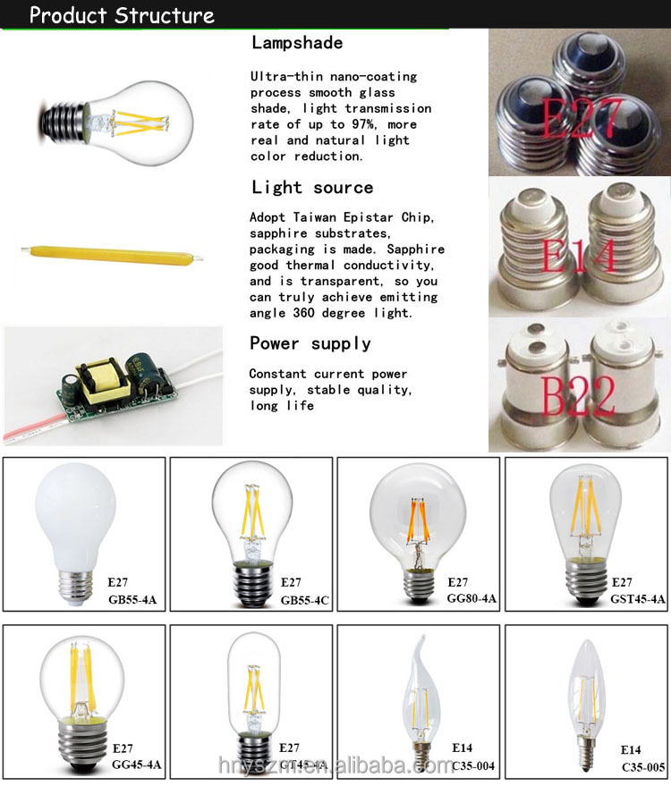 2-8 Watt Dimmable Filament Led Clear Medium Tube T30 Led Filament ...