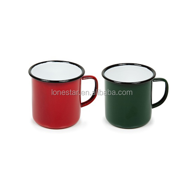 FDA certificate Cast iron 12oz custom enamel mug with side handle