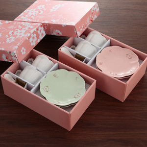 High quality ceramic coffee mug cherry blossoms tea cup sets cup with gift box