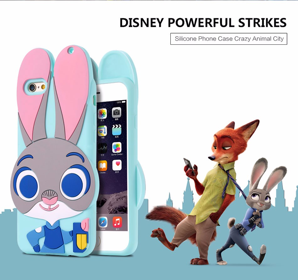 ZOOTOPIA Rabbit TPU Gel Silicone Back Case for iPhone5 5s SE 6 6s 6Plus 6sPlus Lovely Cute Cellphone Soft Silicone Case