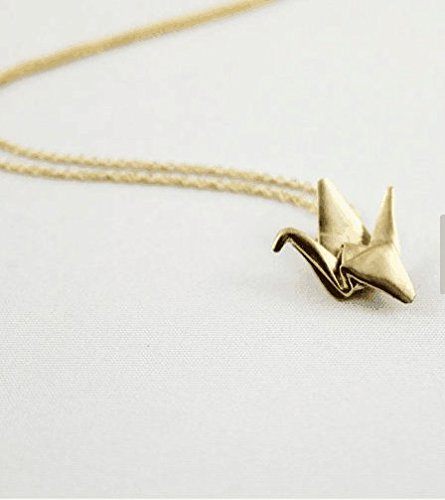3D Jewelry,Origami Crane Necklace,Origami Jewellery,Origami Pendant,First Anniversary Gift,Gold Origami Necklace,Paper Anniversary