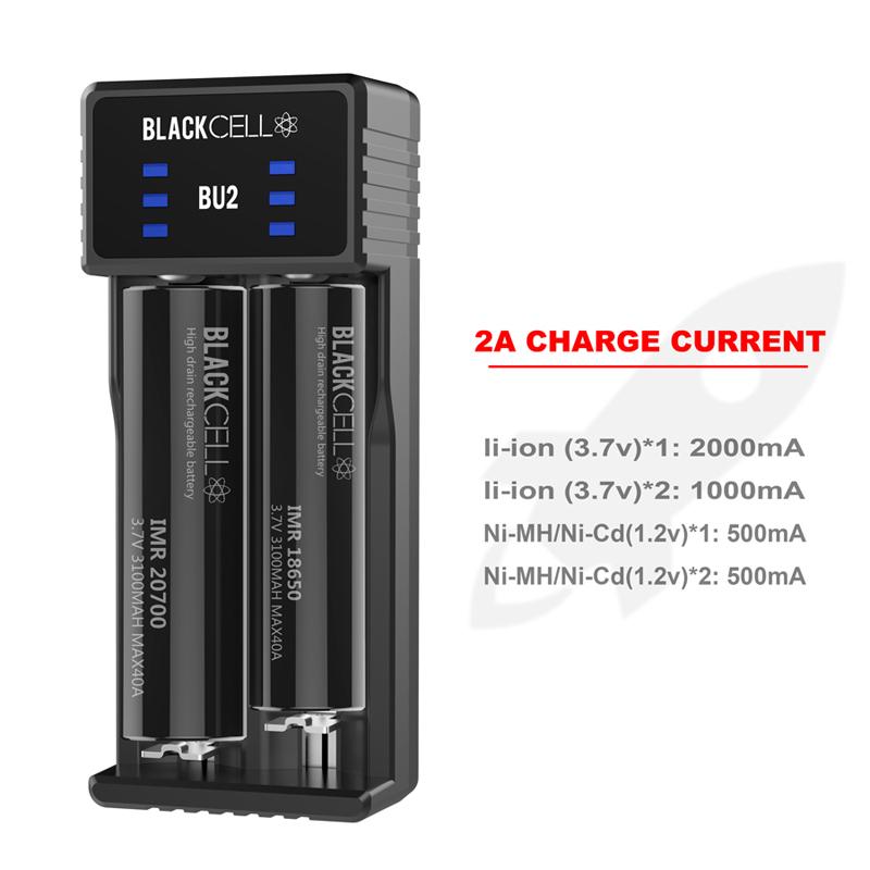 Blackcell BU2 chrger 2A for 20700 21700 lihtium 3.7v 18650 usb charger