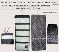 Travel Roll up cosmetics Bag Black Ployester Fabric