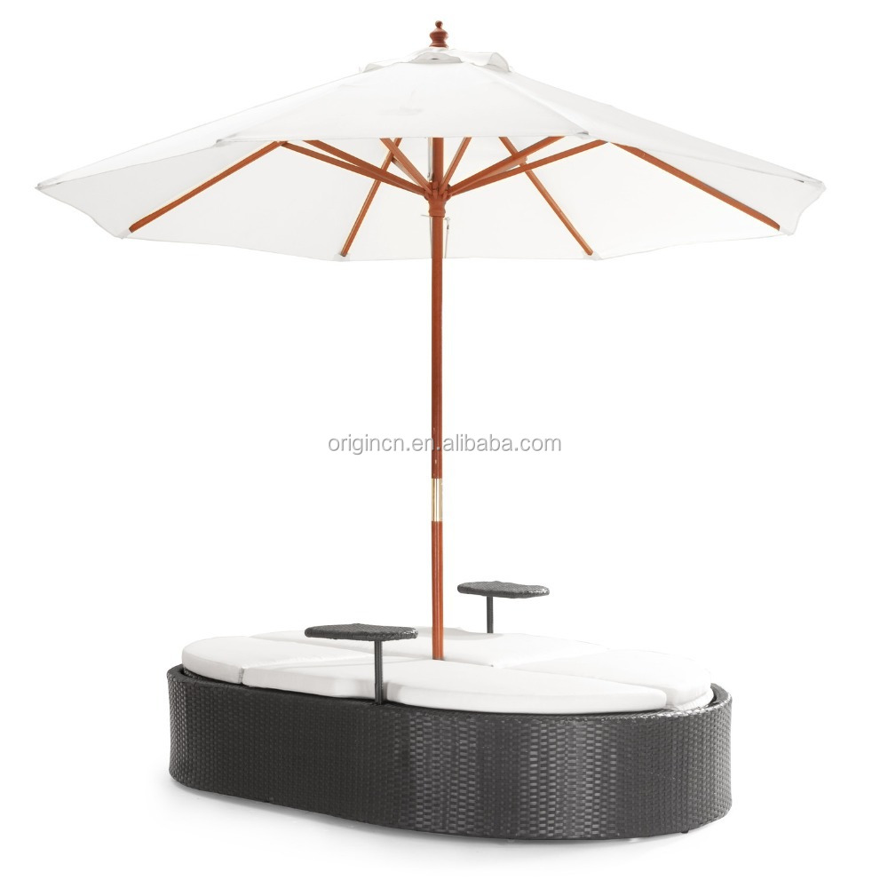 Poolside Garden Use Oval Sectional Shaded Outdoor Lounger Bed ...