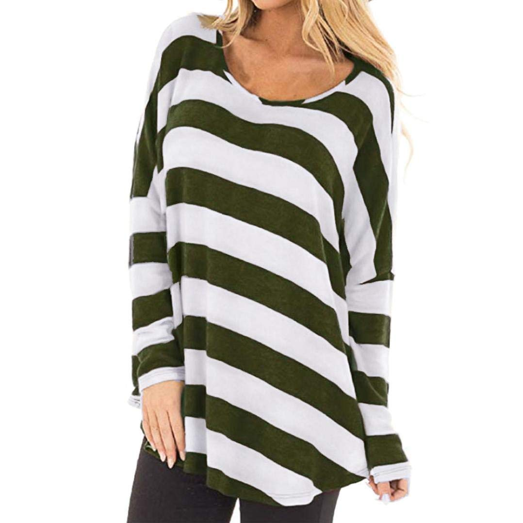 7106b4b3a55ac7 Paymenow Women Striped Blouse Loose Autumn Winter Long Sleeve Tops Casual T  Shirts Tops