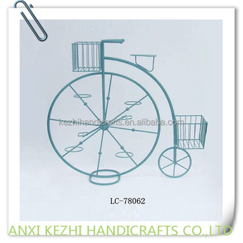 Blue Wrought Iron Bicycle Flower Pot Holder