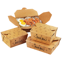 Disposable Biodegradable Brown Kraft Paper Take Away fast food gift Recycle boxes