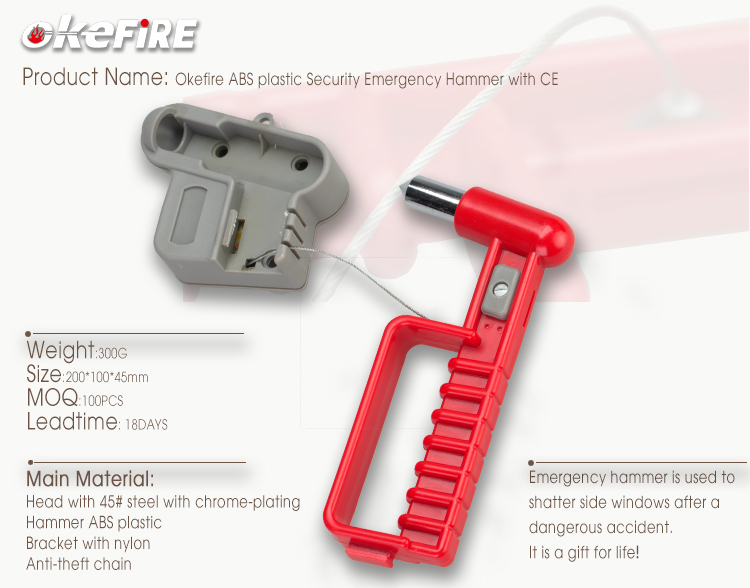Okefire ABS plastic Security Emergency Hammer with CE