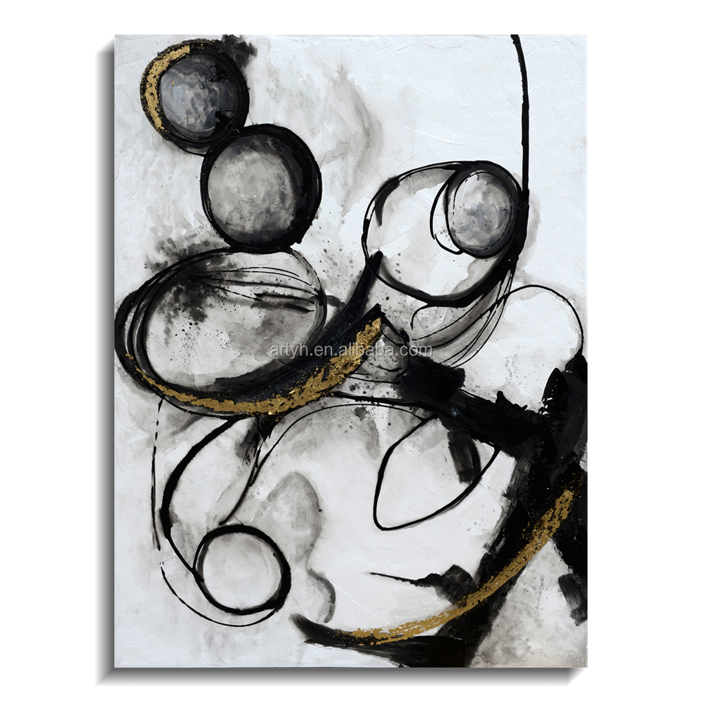 Black and White Cycle Handmade Hotel Decor Abstract Painting <strong>Picture</strong>