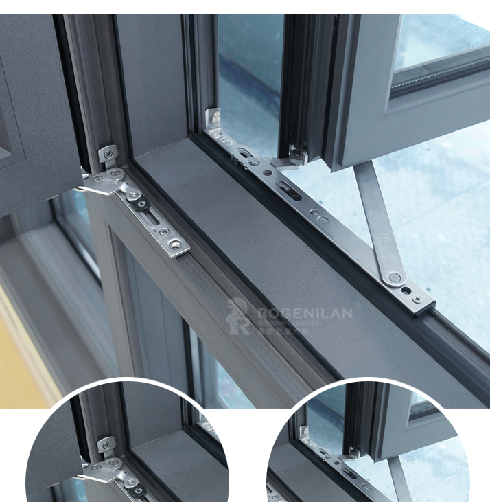 ROGENILAN 140 series top quality hurricane impact heat insulation broken bridge aluminum casement window