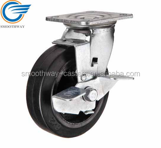 Top Plate Swivel Rubber On Cast Iron Heavy Duty Caster Wheel With Brake Roller Bearing