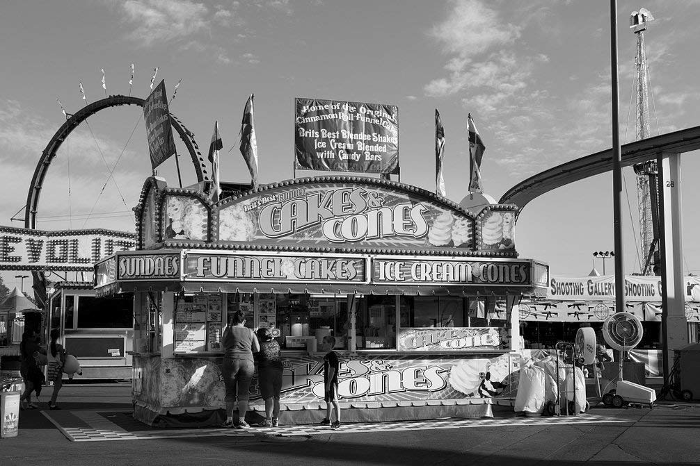 Get Quotations Vintography 8 X 12 Black White Photo Funnel Cakes Ice Cream Cone Vendor At The 2017