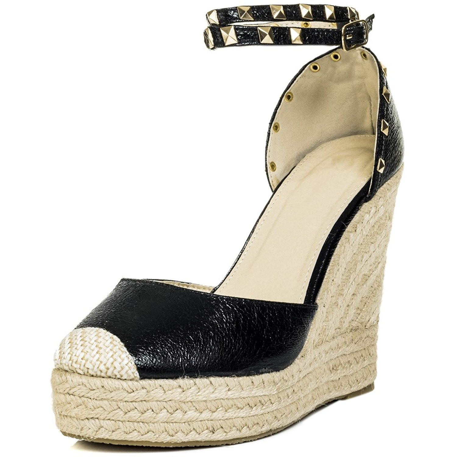 224e052061c40 Get Quotations · SPYLOVEBUY CARLEY Women s Espadrille Studded Wedge Heel  Strappy Sandals