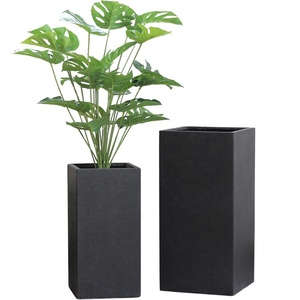Concrete cement hand-brush High Squire flower pot with black paint for Home Deco