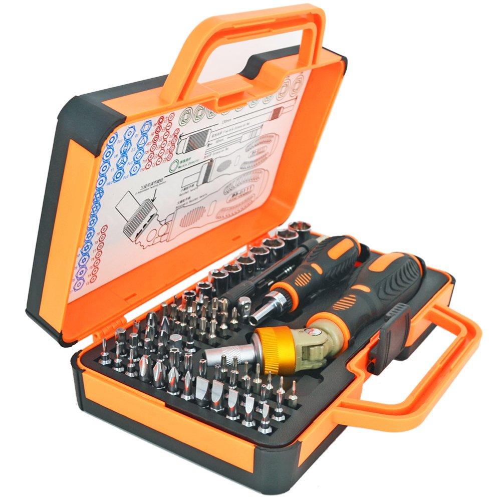 51c4aa48d Get Quotations · iHuniu Double Ratcheting Screwdriver Set Ratcheting Socket  Hand Tool Set 64 Bits Magnetic