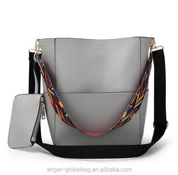 2018 Cheap korean fashion big capacity vintage long color wide strip female  shoulder bucket bag with 4fa47937b7e3d