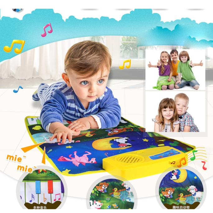67cm x 37cmHot Kids Baby Zoo Animal Musical Touch Play Singing Carpet Mat Toy Music Moon and animals Toys & Games learning tools