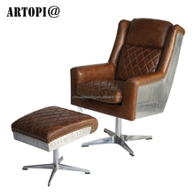 Antique ergonomic leather high back office chair / executive office furniture boss chair with ottoman