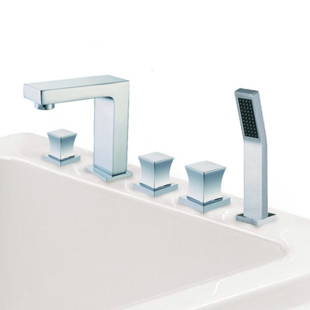 Brass European-style faucets with five piece of cover/Split-type bathtub faucet/five-hole cylinder side taps