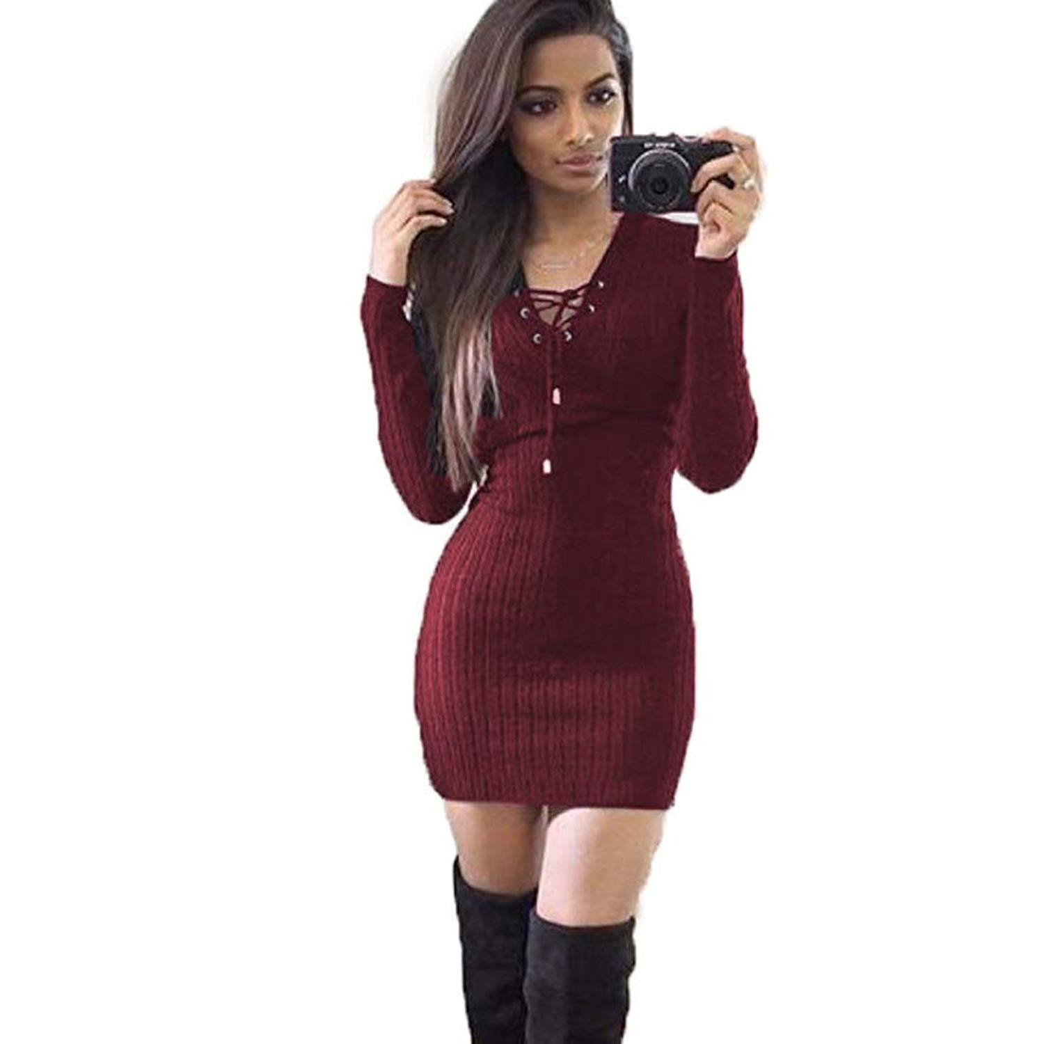 Clearance Women Tops COPPEN Women Winter Long Sleeve Knitted Body Con Sweater Dress