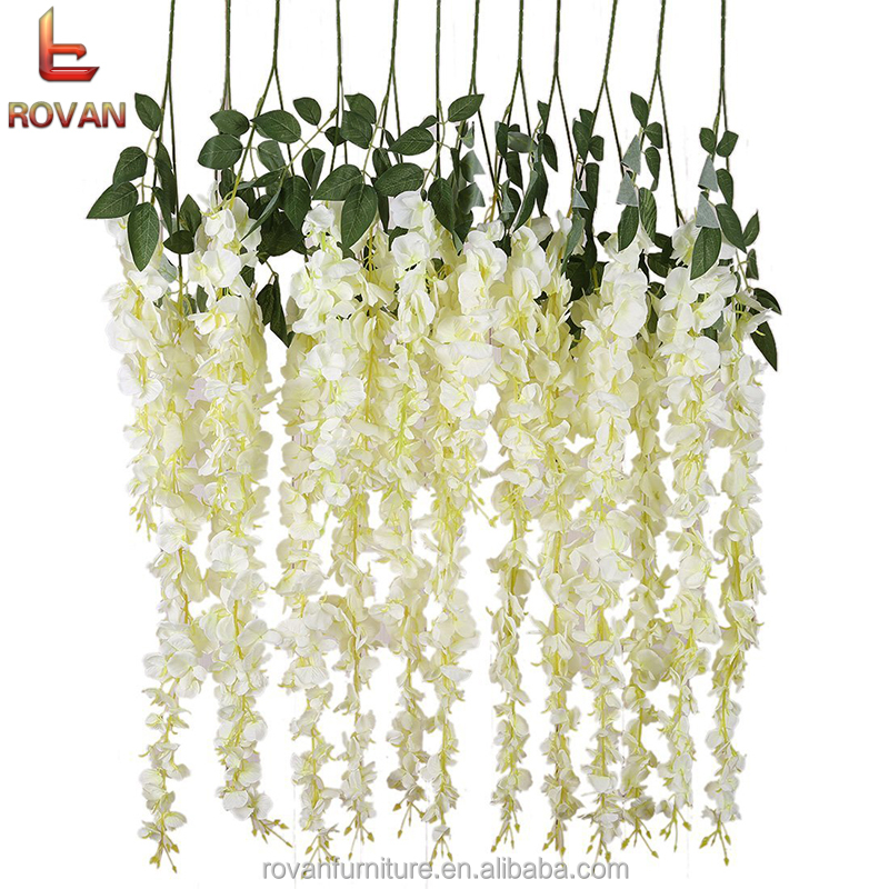 Artificial Silk Three Spikes Wisteria Vine Ratta Silk Hanging Flower