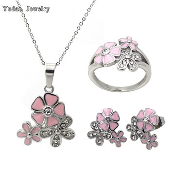 Woman Jewelry Stainless Steel Cherry Blossom Wedding Jewelry Sets