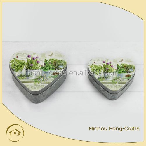 Manufacture Small Heart Shape Metal Tin Can Storage Box