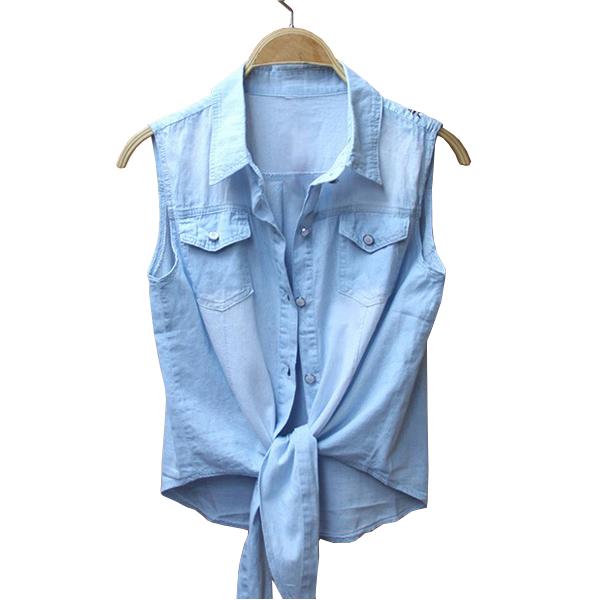 a0ef07a2788 Get Quotations · All-match turn-down collar sleeveless denim shirt  tieclasps vest women s thin denim shirt