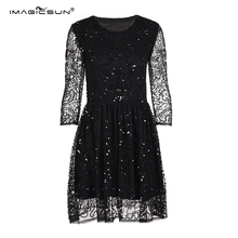 High quality ladies half sleeve party wear dresses beaded elastic band black sequin short evening dinner dress