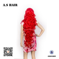 New Fashion Women Red Synthetic Long Curly Wavy Hair Cosplay Wig cheap High Temperature Hair Silk Wigs for Party