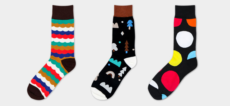 Custom design mens happy crew dress socks