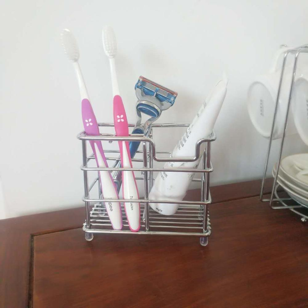 Amazon hot selling stainless steel toothbrush holder toothpaste holder stand bathroom storage organizer rack
