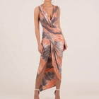 New Trend Women's Casual Sexy Deep V-neck Tie Dye Printed Long Maxi Dress
