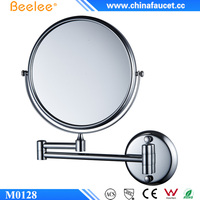 Beelee M0128 Shaving Bathroom Mirror Wall Mounted Brass 8 Inch Double Cosmetic Mirror