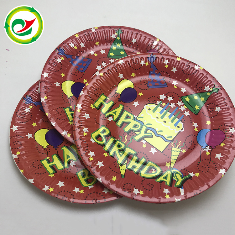 2018 Hot sale birthday printed cake disposable round paper plate