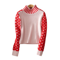 Women's contrast color patch work short pullover sweater small turtleneck red sleeves cashmere sweater