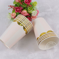 [partigos]10pcs Pink blue Striped paper cupsWedding/baby shower party disposable tableware foil Paper cups