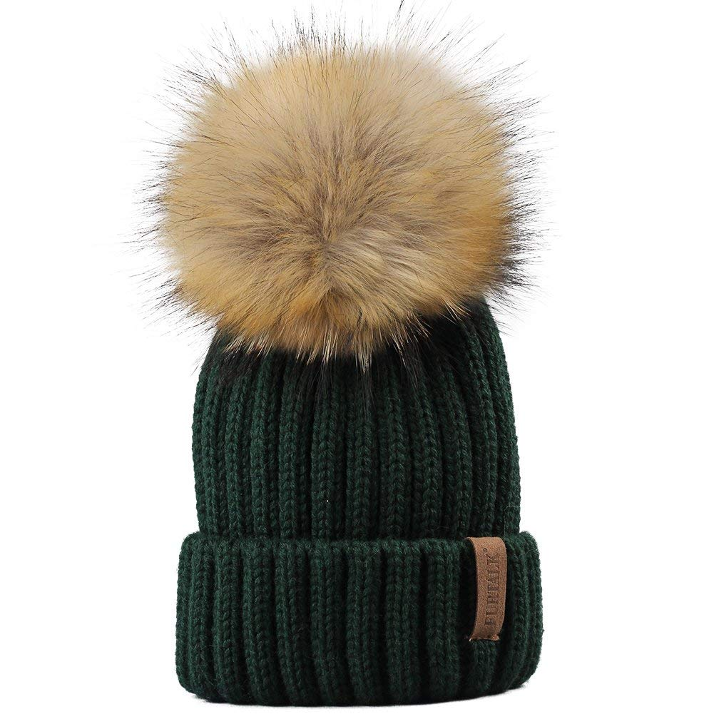 20c6f6c8193 Get Quotations · FURTALK Kids Winter Knitted Pom Faux Fur Ball Pom Pom Cap  Kids Beanie Hat (Ages